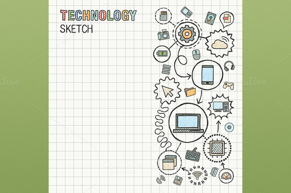 Technology Hand Draw Icons On Paper