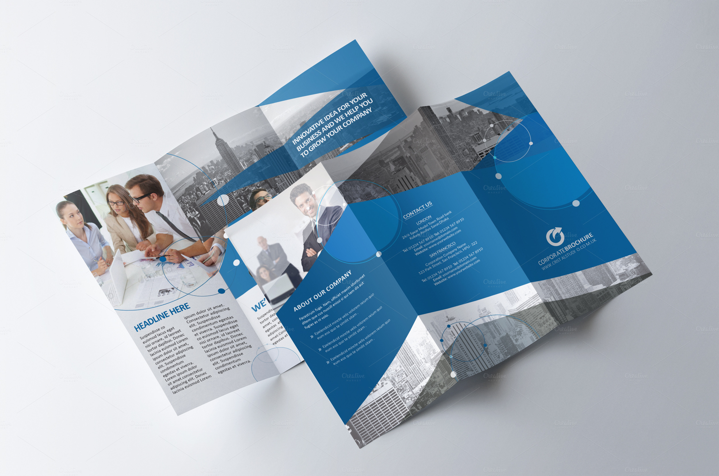 Tri fold brochure multipurpose brochure templates on for Free indesign tri fold brochure template