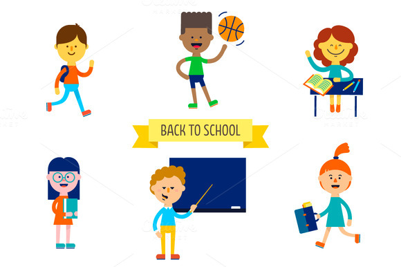Back To School Set Of Cute Children