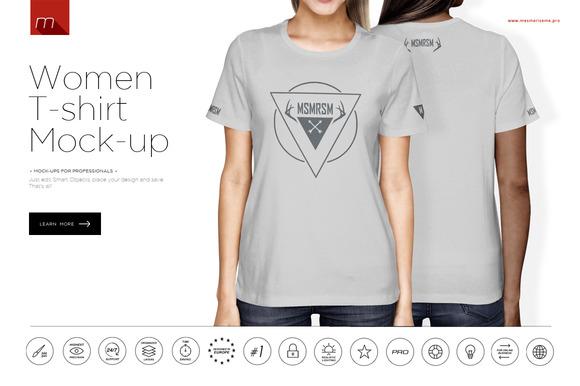 Women crew neck t shirt mock up product mockups on for Mock crew neck shirts