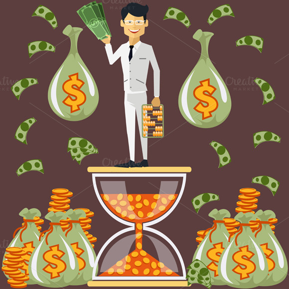 Businessman Standing On Hourglass