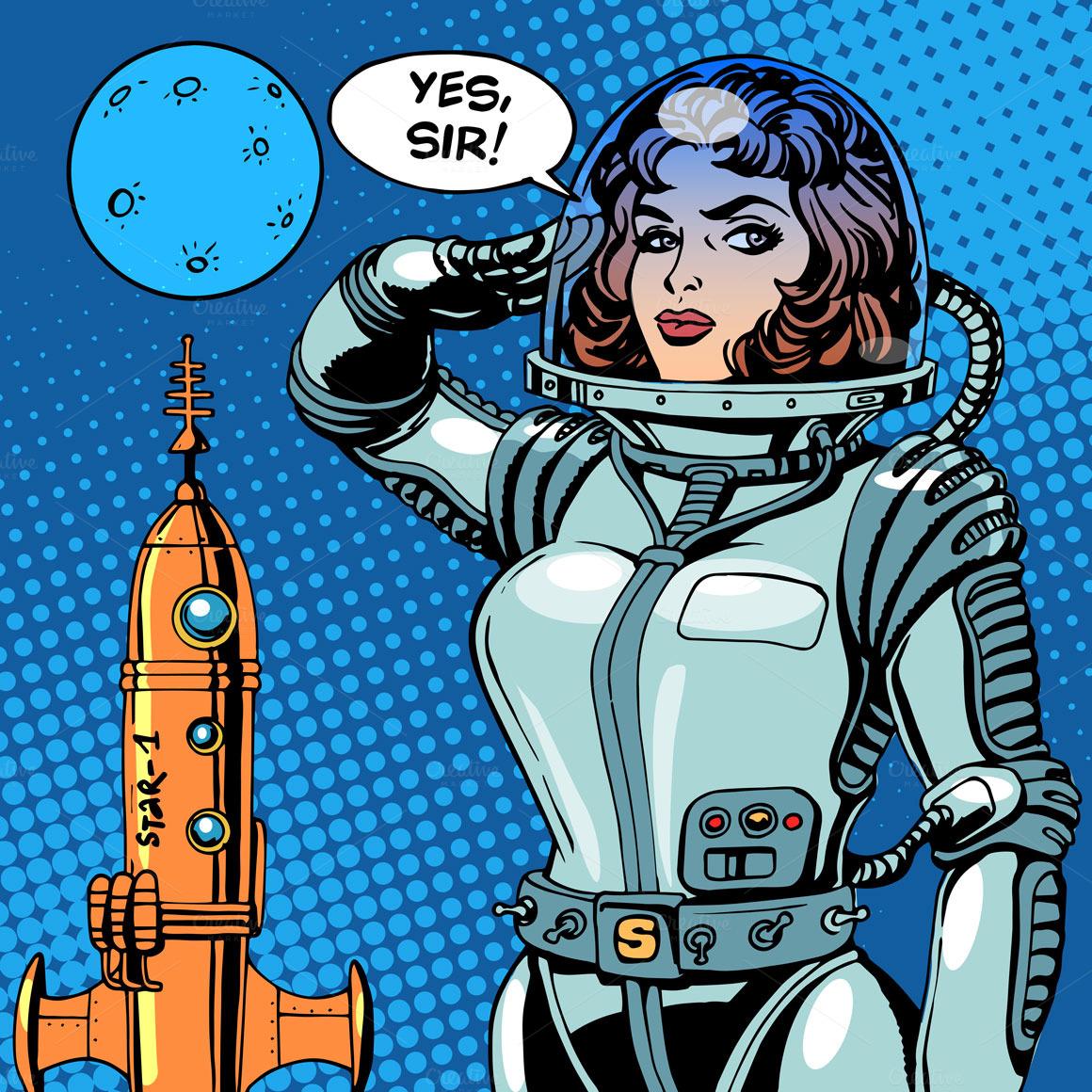 retro girl astronaut - photo #17