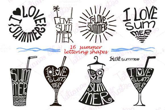 Summer Lettering Set In Black