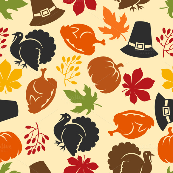 Thanksgiving pattern and backgrounds ~ Objects on Creative ...