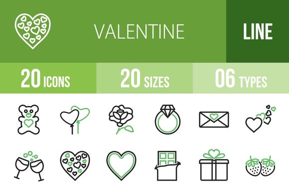 20 Valentine Green Black Icons