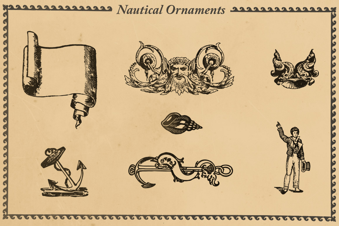 Nautical ornaments set illustrations on creative market for Anchor decoration css