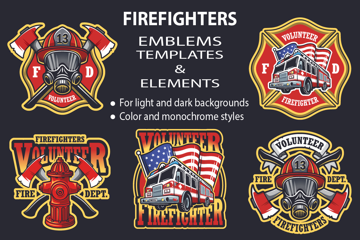 set of firefighters emblems   logo templates on creative firefighter logo clipart firefighter logo clipart