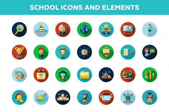 School Icons 4 Illustrations Bonus
