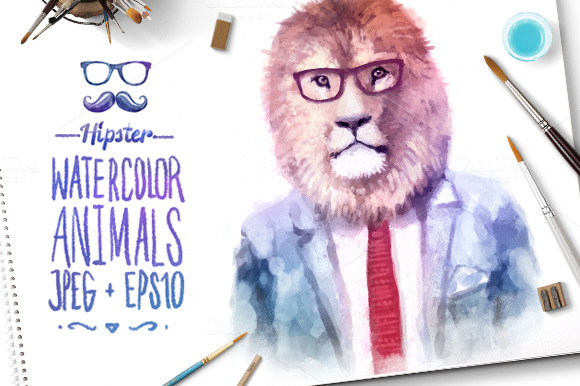 Watercolor Hipster Animals Lion