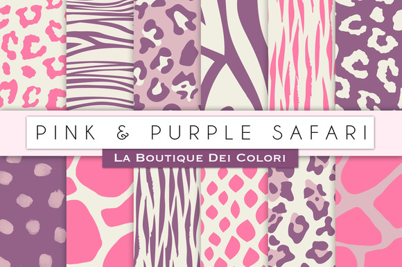 Pink Purple Animal Prints Papers