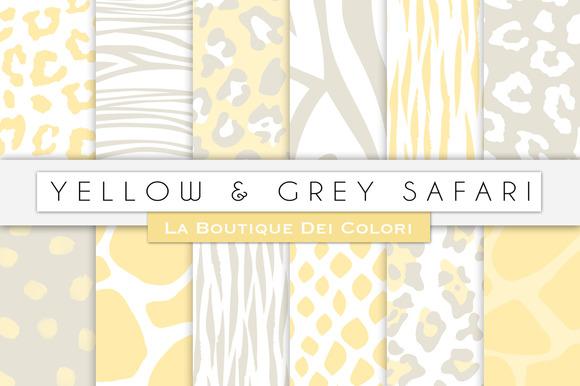 Yellow Grey Animal Digital Papers