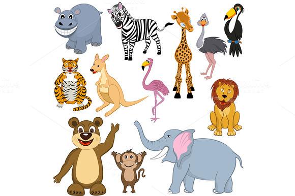 Set Of 12 Cartoon Animals