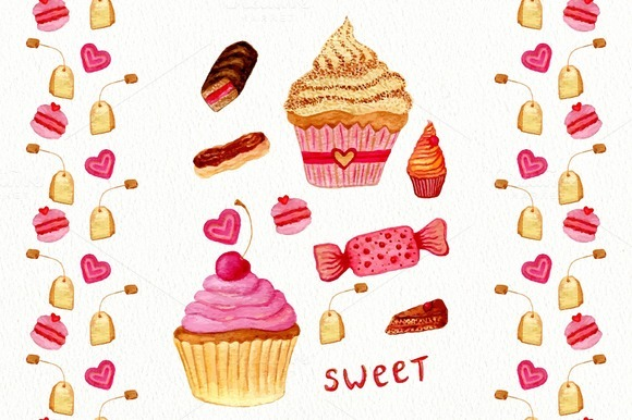 Watercolor sweets. Patterns. Vector - Illustrations