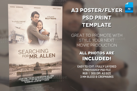 free movie poster template - a3 movie poster print template 1 flyer templates on