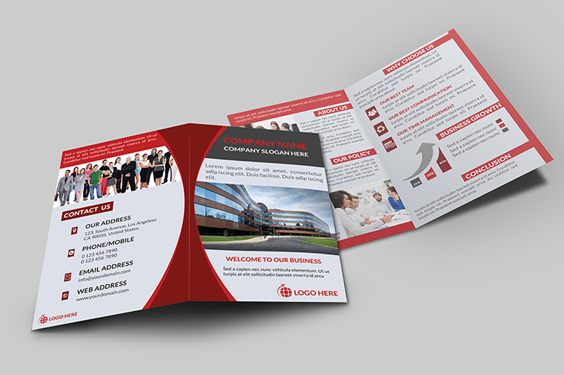 Corporate bi fold brochure v 1 brochure templates on for One fold brochure template