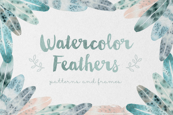 Watercolor Feathers Patterns Frames