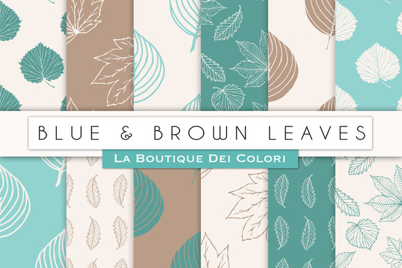 Blue Brown Leaves Digital Paper