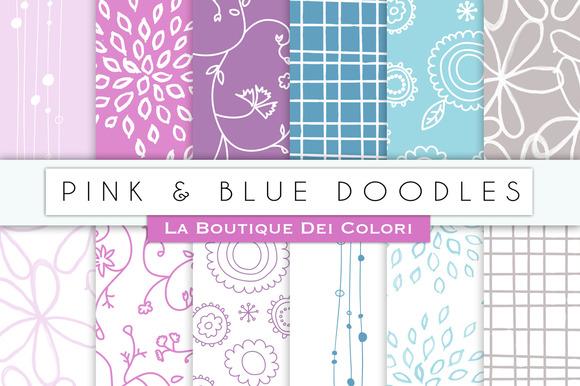 Pink Blue Doodles Digital Papers