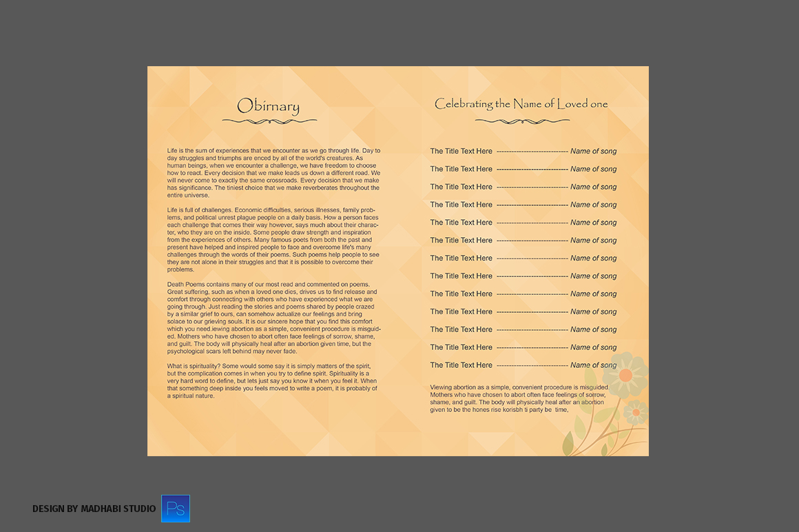 funeral program bi fold template brochure templates on creative market. Black Bedroom Furniture Sets. Home Design Ideas