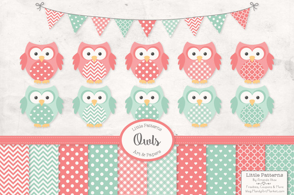 Mint Coral Owl Clipart Papers