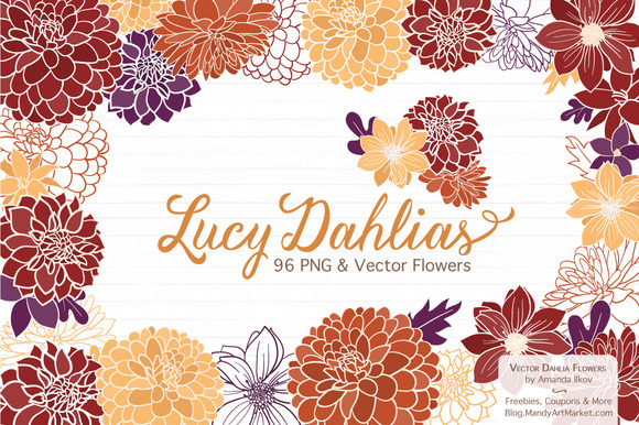 Autumn Dahlia Flower Clipart