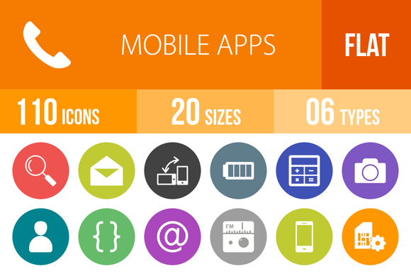 110 Mobile Apps Flat Round Icons