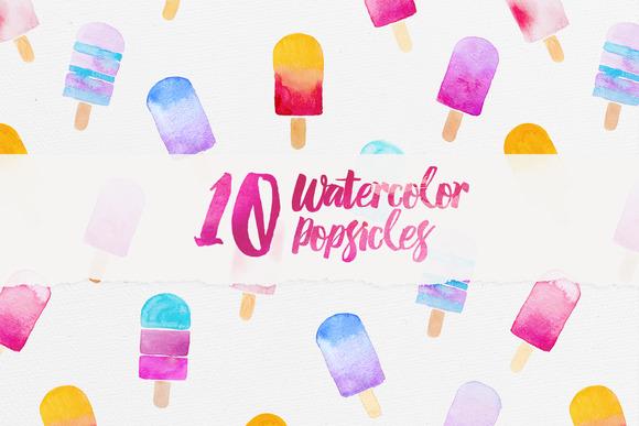 10 Watercolor Popsicles