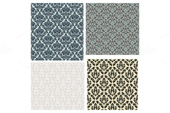 4 Damask Seamless Patterns