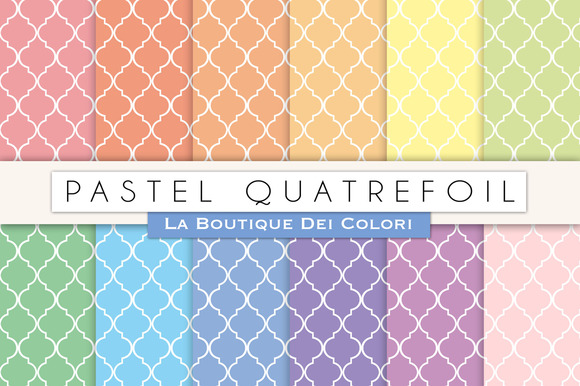 Pastel Quatrefoil Digital Papers