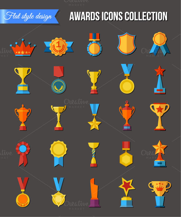 Set Of Flat Trophy Icons