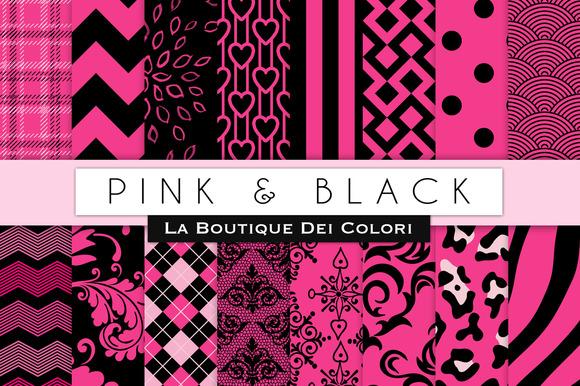 Pink Black Digital Papers