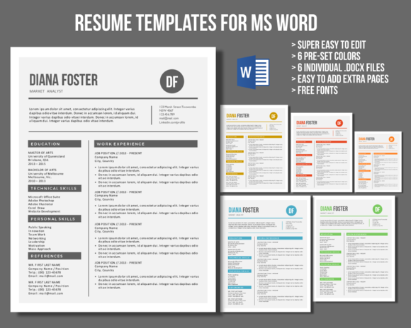 Neat Word Resume Templates Resume Templates On Creative Market