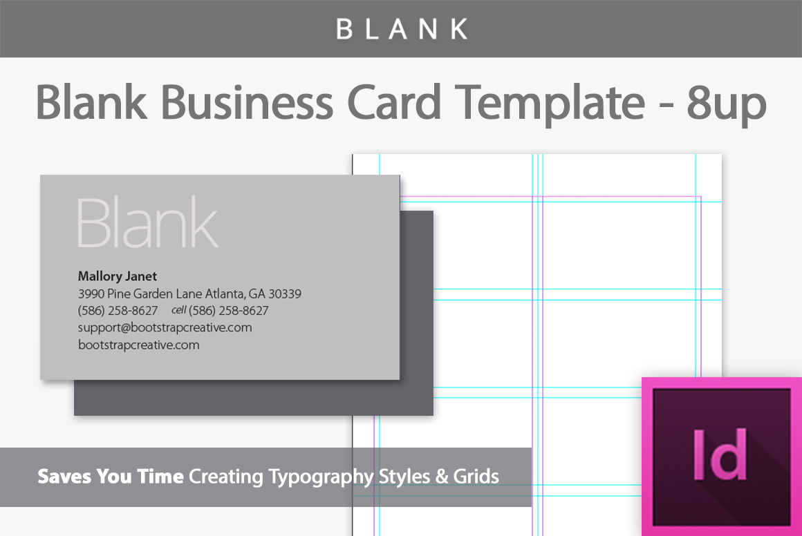 Blank business card template 8 up business card for Business card design free template
