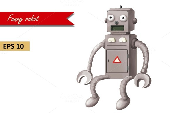 Funny Robot. Vector EPS 10 - Objects