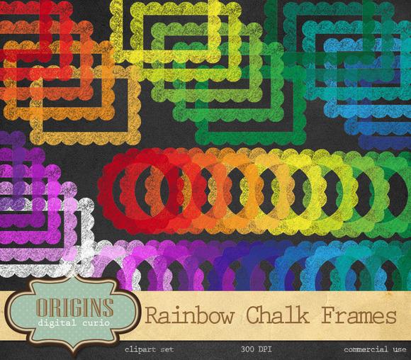 Chalkboard Rainbow Frames Clipart