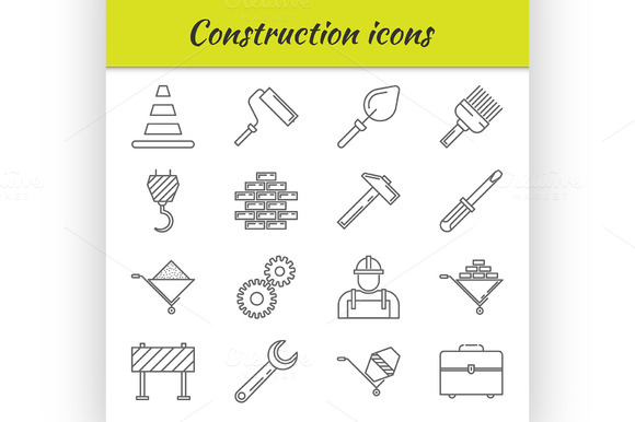 Outline Icons Set Construction