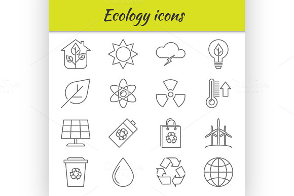 Outline icons set. Ecology - Illustrations
