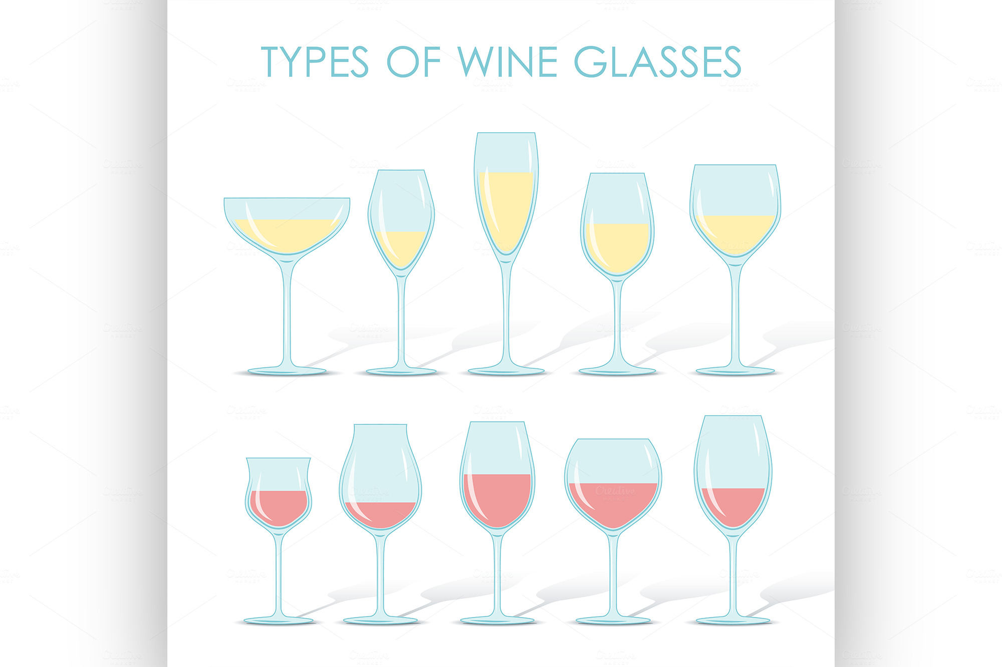 types of wine glasses illustrations on creative market. Black Bedroom Furniture Sets. Home Design Ideas