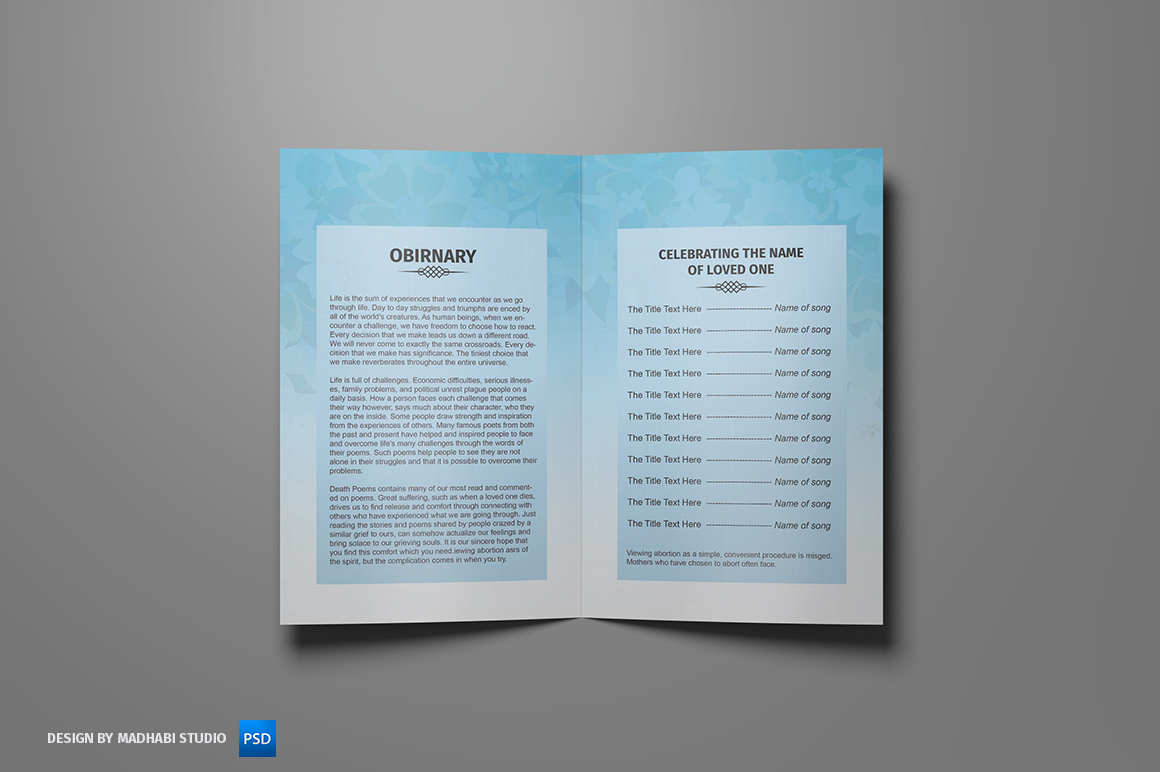 funeral program template bi fold brochure templates on creative market. Black Bedroom Furniture Sets. Home Design Ideas