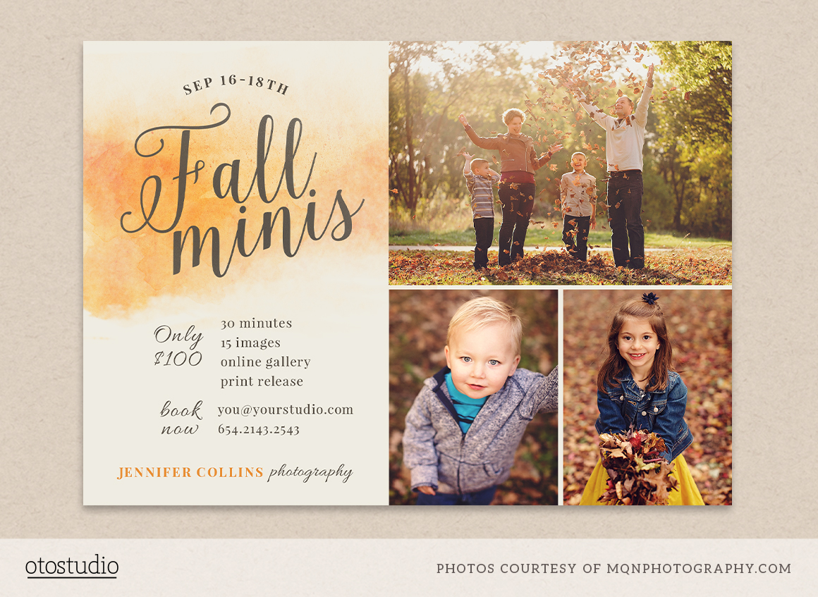 fall mini session template flyer templates on creative market. Black Bedroom Furniture Sets. Home Design Ideas