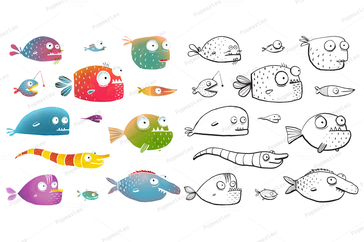 Cartoon Fish Collection for Kids ~ Illustrations on Creative Market