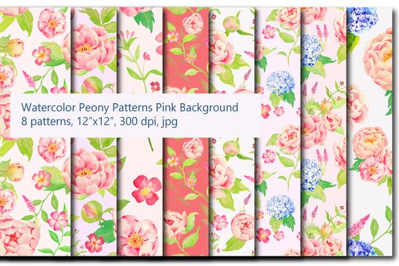 Watercolor Peony Hydrangea Pattern