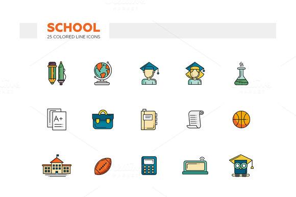 School 25 Colored Line Icons Set