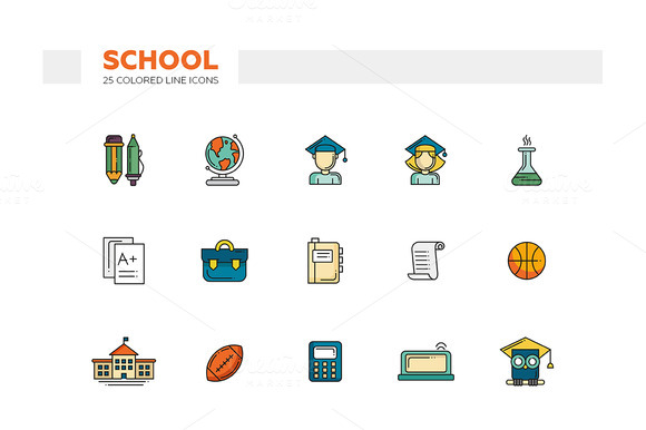 School. 25 Colored Line Icons Set - Icons