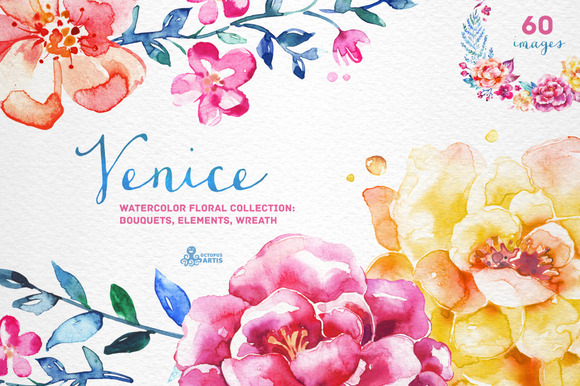 Venice. Watercolor floral collection - Illustrations
