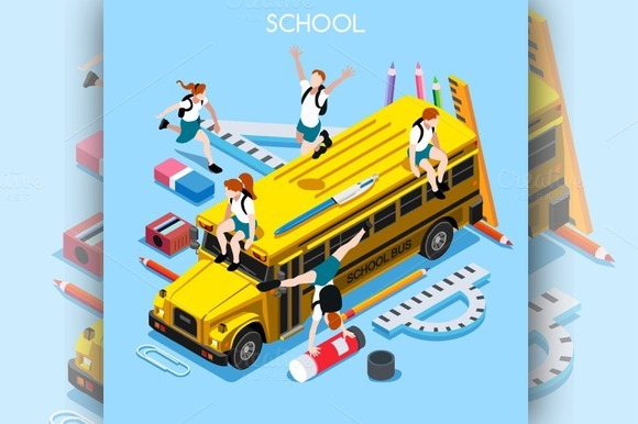 School Bus And Chancellery Set