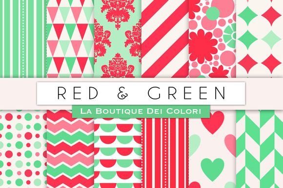Red Green Digital Papers
