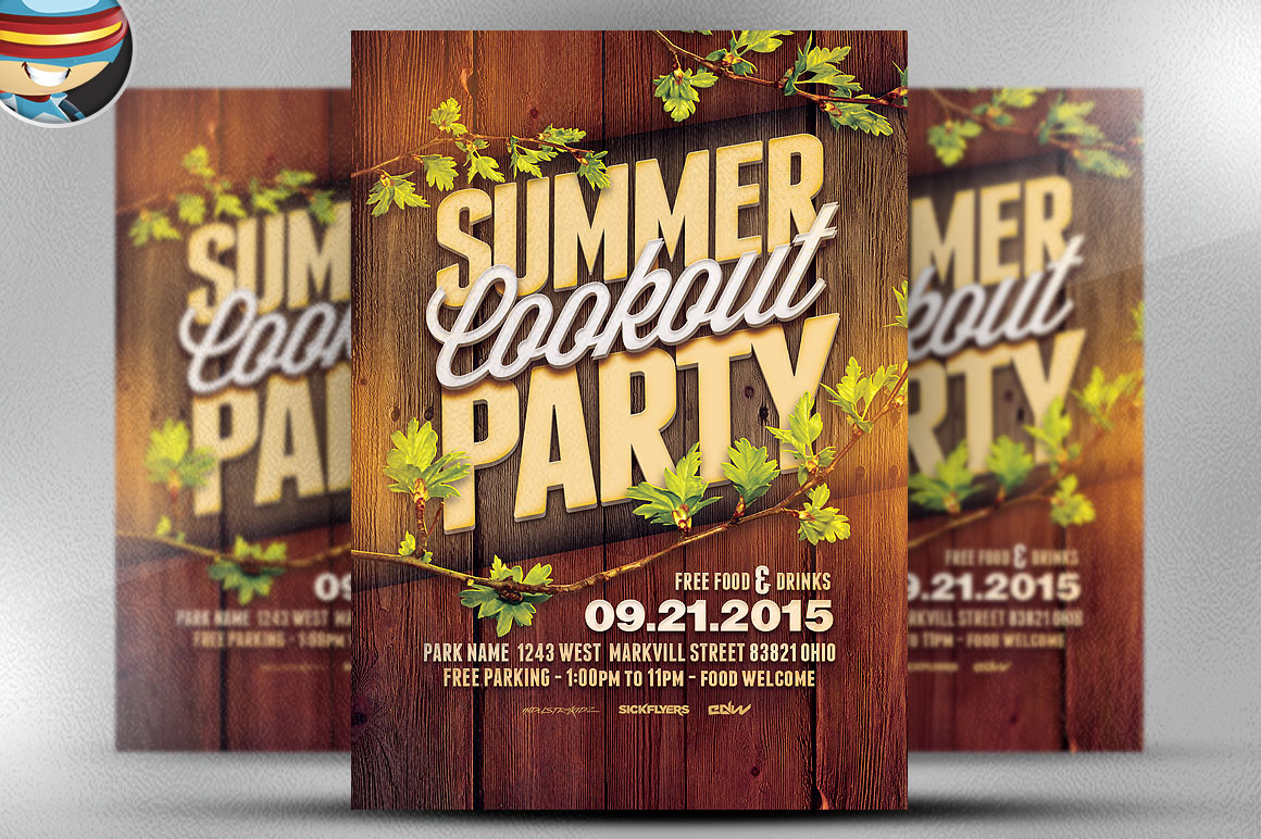 summer cookout party flyer template