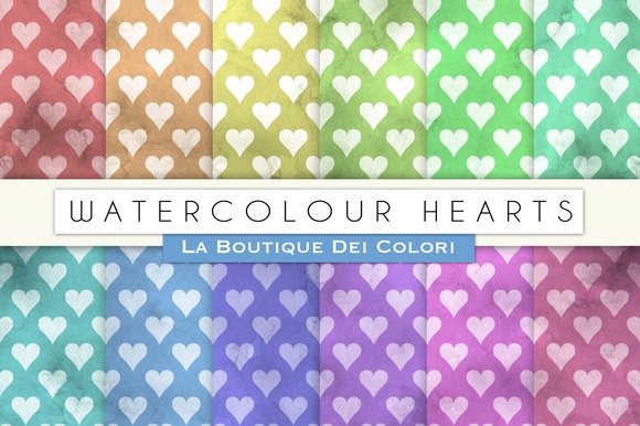 Watercolour Hearts Digital Papers