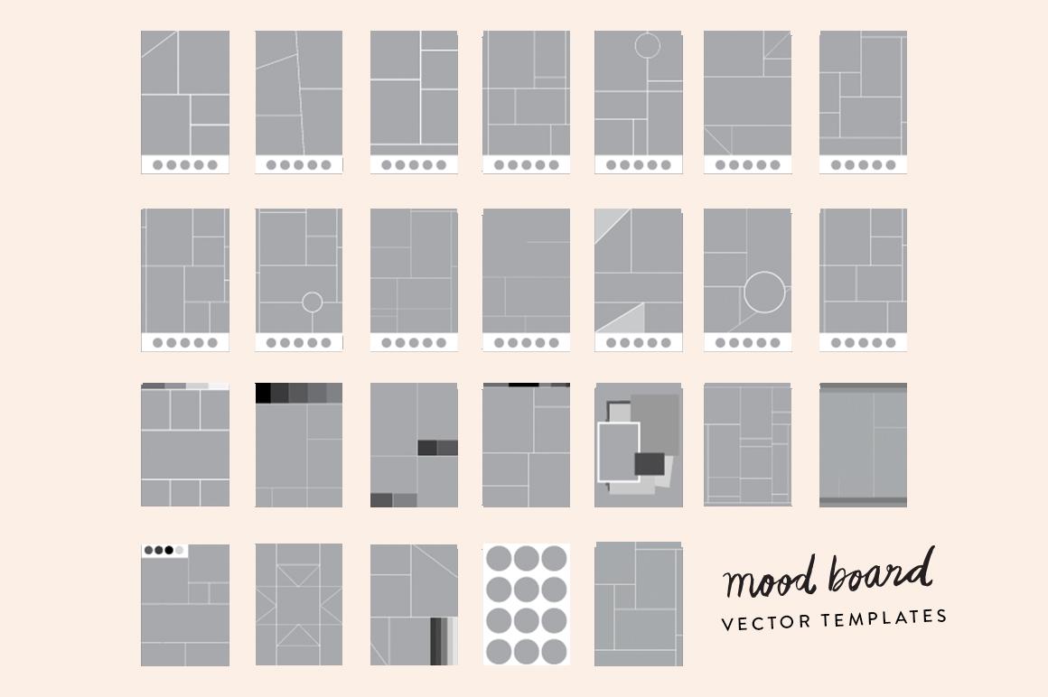 25 mood board vector templates presentation templates on creative market. Black Bedroom Furniture Sets. Home Design Ideas